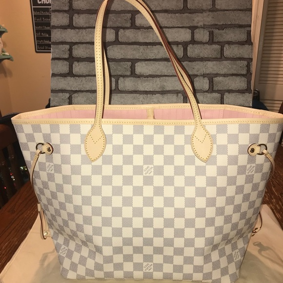 Louis Vuitton Bags   Neverfull Mm Azure Rose Ballerine   Poshmark 775bdfaa459